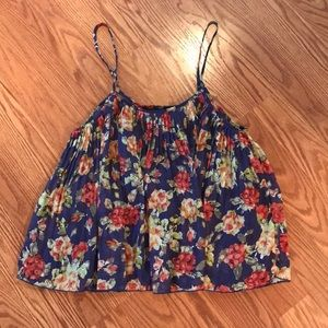 Forever 21 Floral Pleated Tank w/ Adjustable Strap